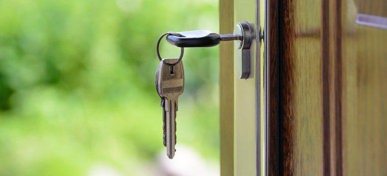 Key in a lock.