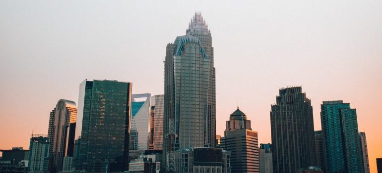 View of Charlotte skyline.