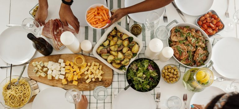 A table with different kinds of food.