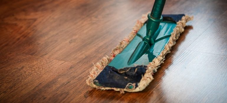 A mop on the floor