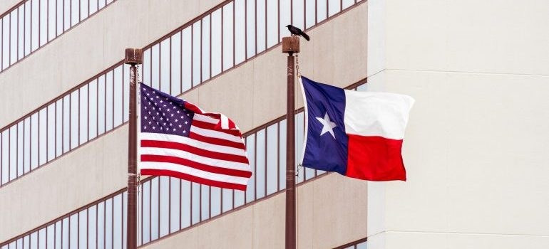Flags of the United States and Texas