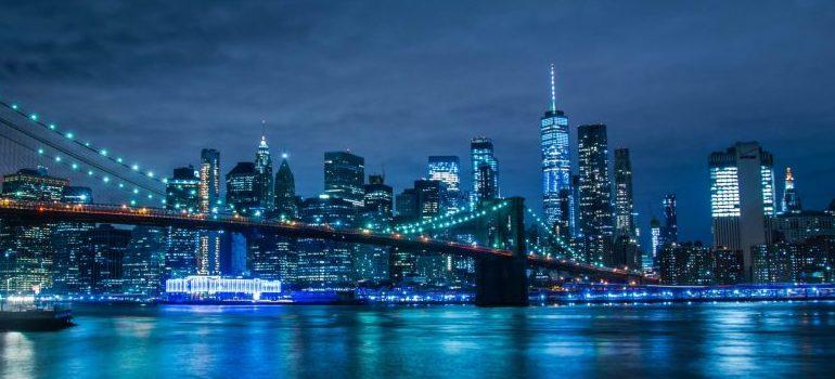 New York City, at night