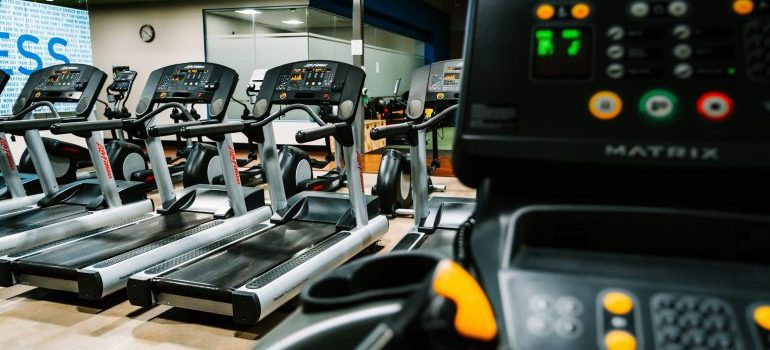 closeup of a treadmill in a gym