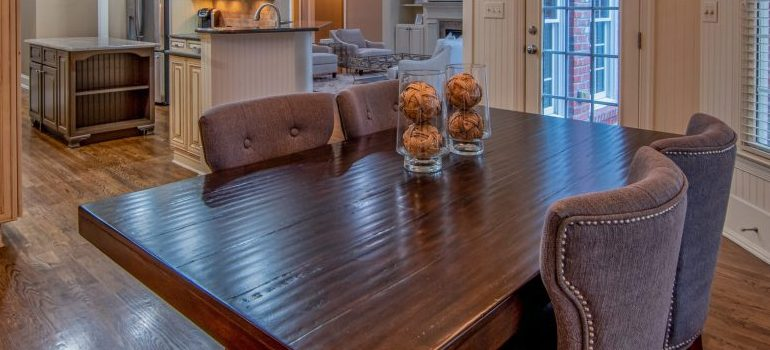 kitchen and dinning room, wooden table and four chairs