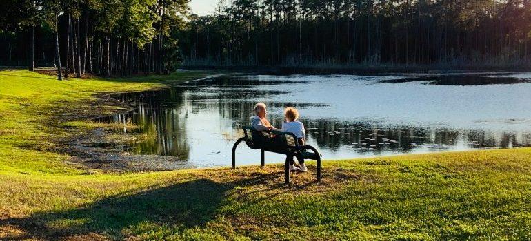 Couple at a lake.