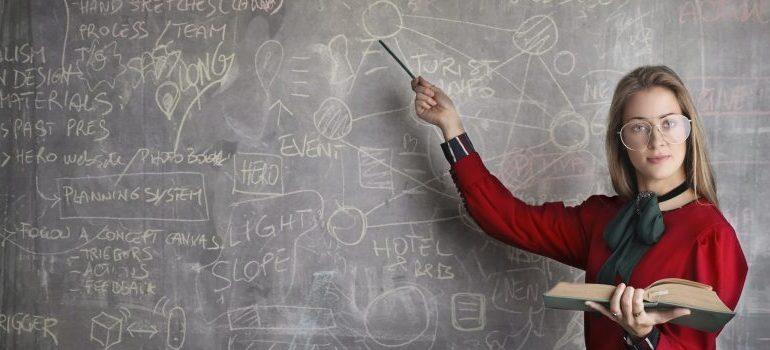 teacher pointing on a blackboard