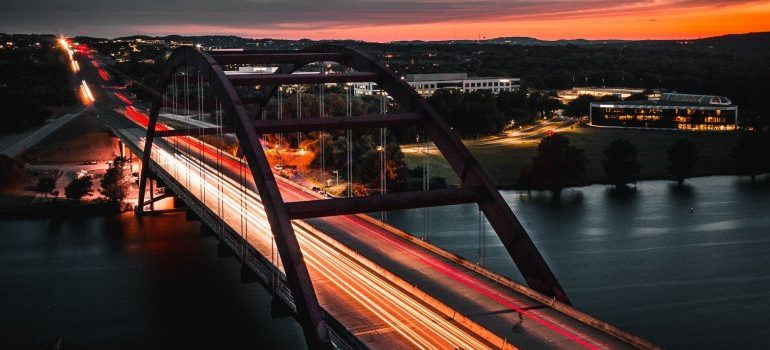 A timelapse of traffic on a bridge
