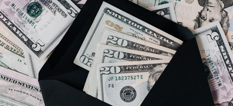 A black envelope with money in it
