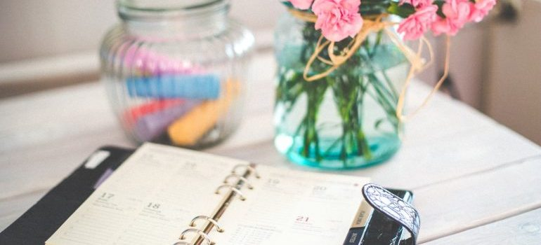 Planner on the desk