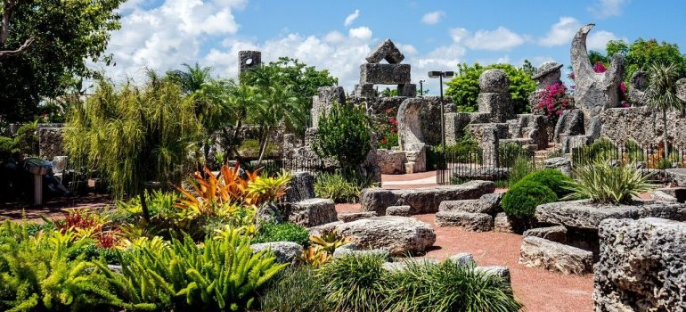 A scene of the mysterious Coral Castle made by Edward Leedskalnin.