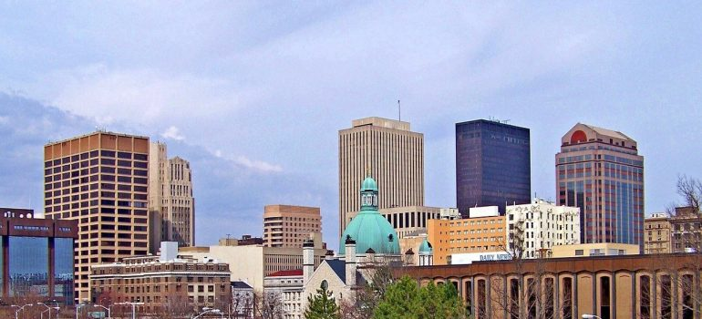 Buildings and open sky that people who choose Dayton as a moving destination will see.